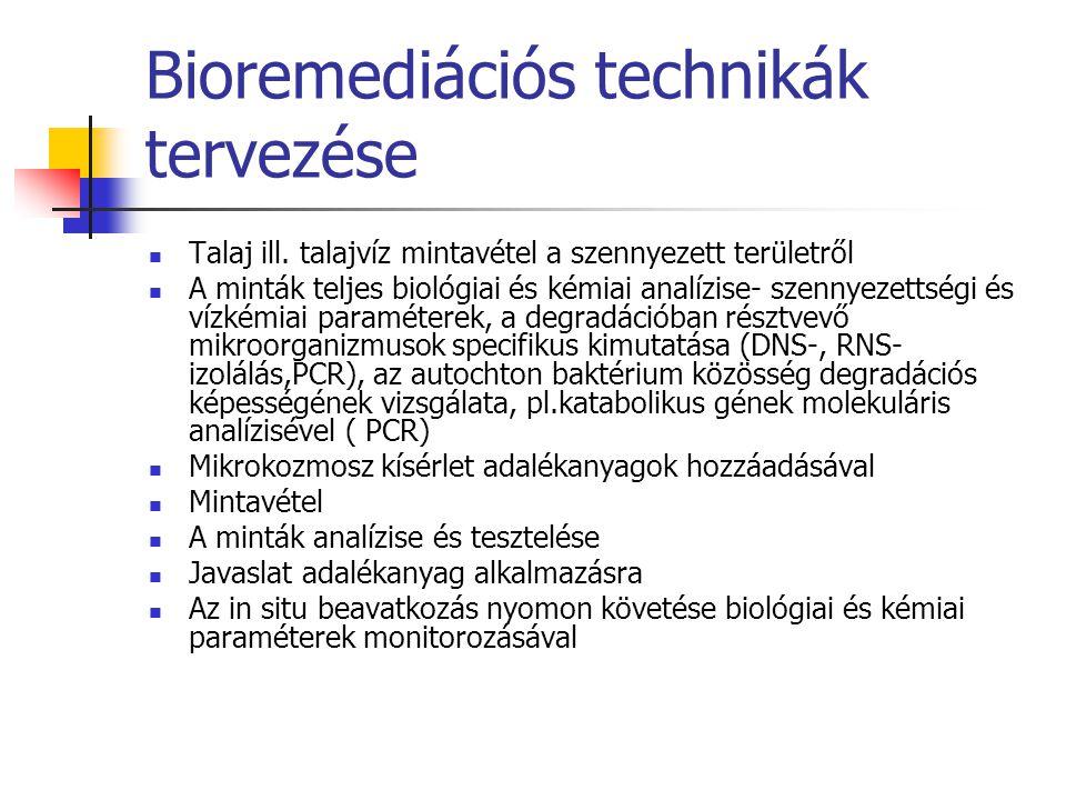 Bioremediációs technikák tervezése Talaj ill. talajvíz mintavétel a szennyezett területről A minták teljes biológiai és kémiai analízise- szennyezetts