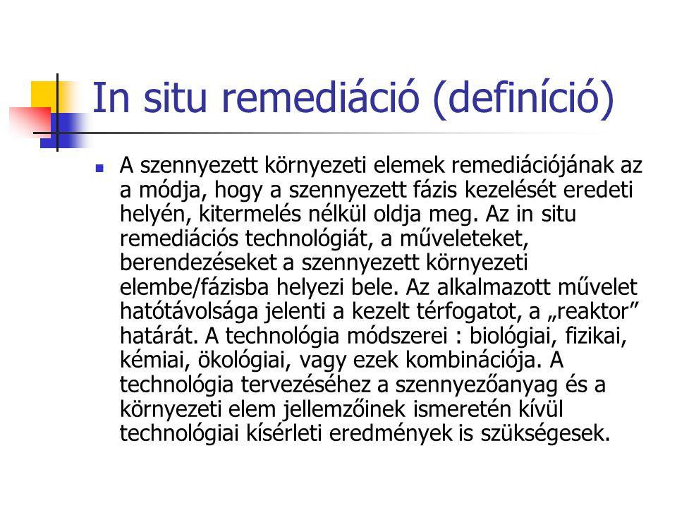 In situ remediáció (definíció) A szennyezett környezeti elemek remediációjának az a módja, hogy a szennyezett fázis kezelését eredeti helyén, kitermel