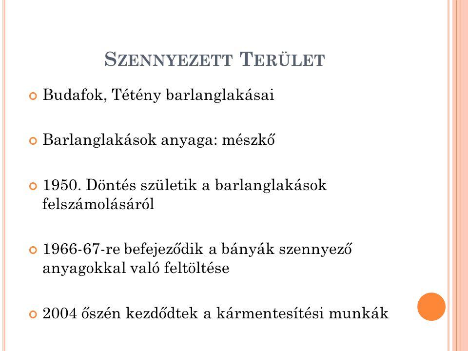 S ZENNYEZETT T ERÜLET Budafok, Tétény barlanglakásai Barlanglakások anyaga: mészkő 1950. Döntés születik a barlanglakások felszámolásáról 1966-67-re b