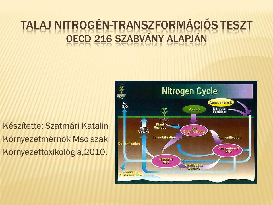  A teszt lényege  A vizsgált anyagok  Az alkalmazott készülékek  A kiválasztott talajok minőségi követelményei az előzetes vizsgálatok alapján  Mintavétel  A talajminták szállítása és tárolás  A talajminták előkészítése  A vizsgált vegyi anyag adagolása a talajhoz  Vizsgálandó vegyi anyag koncentrációi  A teszt kivitelezése  A vizsgálati adatok megjelenítése  A vizsgálati jegyzőkönyv tartalma 2 OECD 216