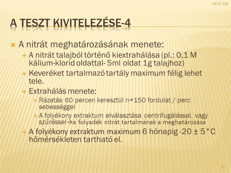  A nitrát meghatározásának menete:  A nitrát talajból történő kiextrahálása (pl.: 0,1 M kálium-klorid oldattal- 5ml oldat 1g talajhoz)  Keveréket t