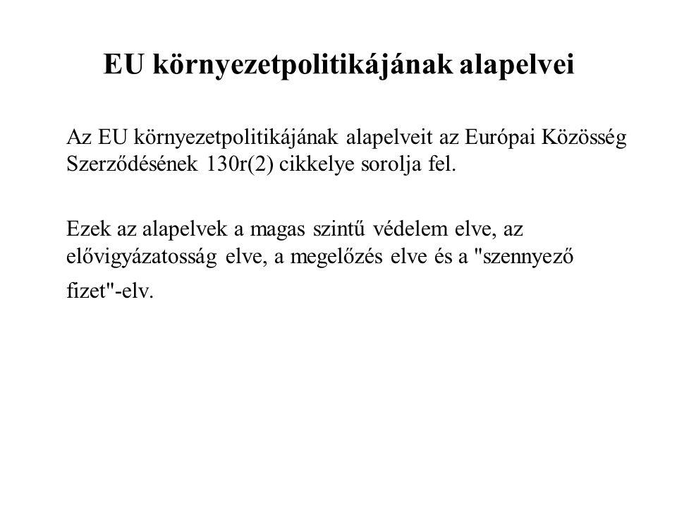 EU környezetpolitikájának alapelvei Az EU környezetpolitikájának alapelveit az Európai Közösség Szerződésének 130r(2) cikkelye sorolja fel.