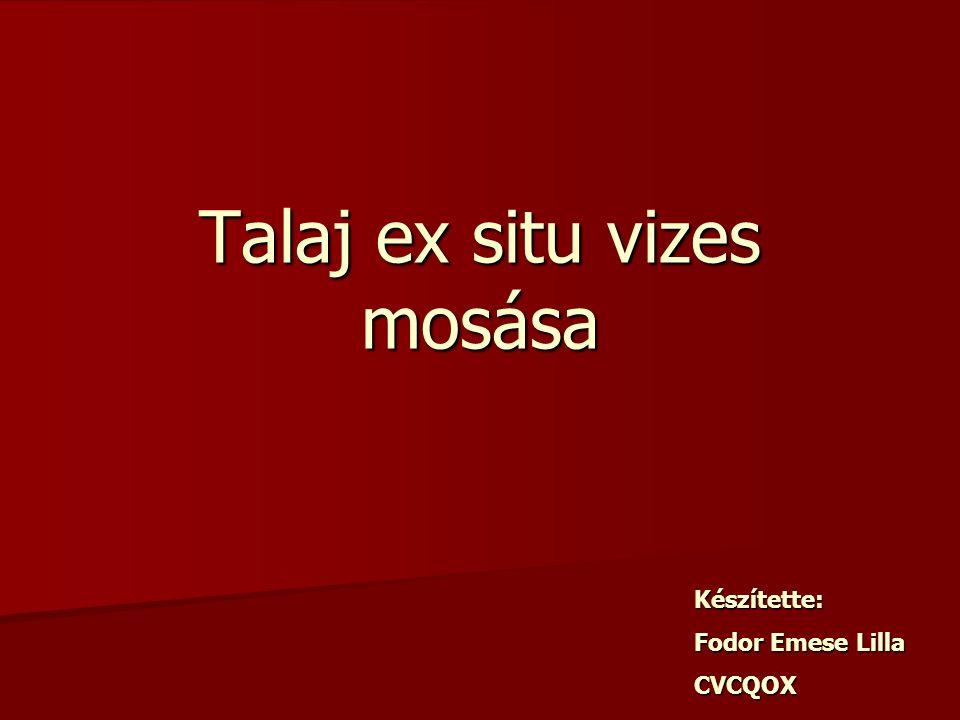 Talaj ex situ vizes mosása Készítette: Fodor Emese Lilla CVCQOX