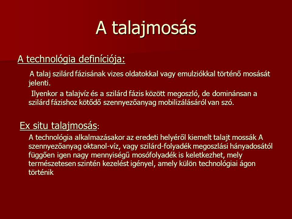 A talajmosás A technológia definíciója: A talaj szilárd fázisának vizes oldatokkal vagy emulziókkal történő mosását jelenti.