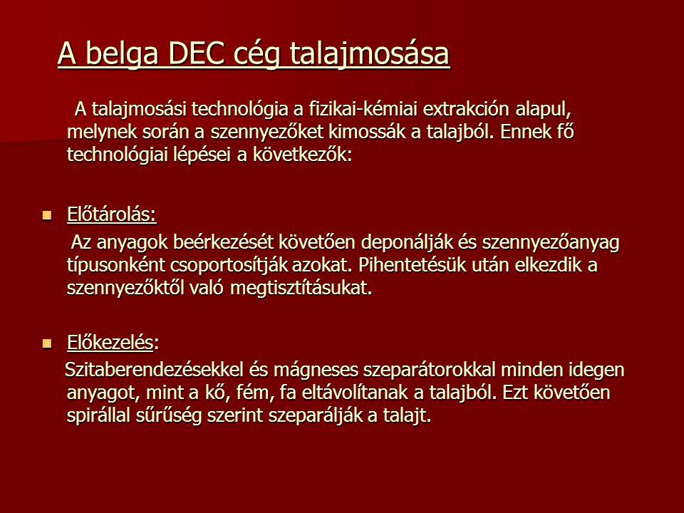 A belga DEC cég talajmosása A belga DEC cég talajmosása A talajmosási technológia a fizikai-kémiai extrakción alapul, melynek során a szennyezőket kimossák a talajból.