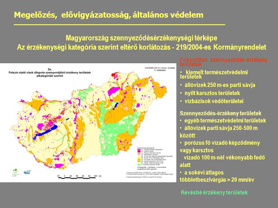 Magyarország szennyeződésérzékenységi térképe Az érzékenységi kategória szerint eltérő korlátozás - 219/2004-es Kormányrendelet Fokozottan szennyeződés-érzékeny területek kiemelt természetvédelmi területek állóvizek 250 m-es parti sávja nyílt karsztos területek vízbázisok védőterületei Megelőzés, elővigyázatosság, általános védelem Szennyeződés-érzékeny területek egyéb természetvédelmi területek állóvizek parti sávja 250-500 m között porózus fő vízadó képződmény vagy karsztos vízadó 100 m-nél vékonyabb fedő alatt a sokévi átlagos többletbeszivárgás > 20 mm/év Kevésbé érzékeny területek