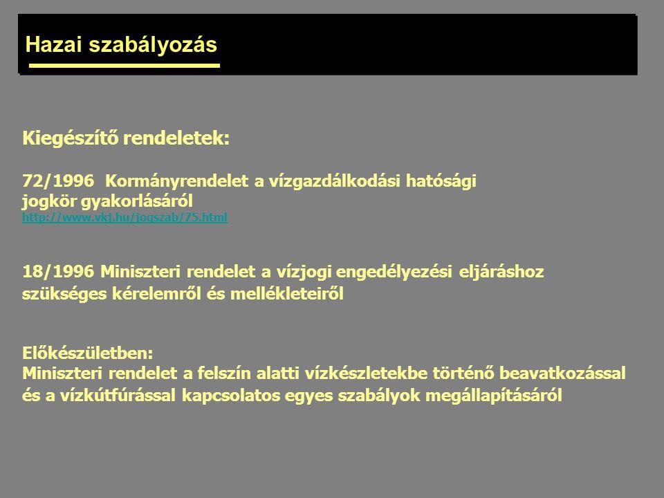 Hazai szabályozás Kiegészítő rendeletek: 72/1996 Kormányrendelet a vízgazdálkodási hatósági jogkör gyakorlásáról http://www.vkj.hu/jogszab/75.html 18/