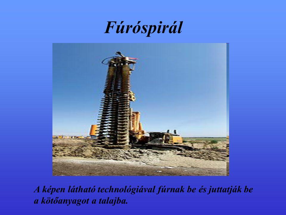 Fúróspirál A képen látható technológiával fúrnak be és juttatják be a kötőanyagot a talajba.