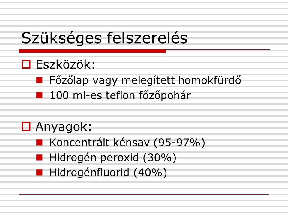 Szükséges felszerelés  Eszközök: Főzőlap vagy melegített homokfürdő 100 ml-es teflon főzőpohár  Anyagok: Koncentrált kénsav (95-97%) Hidrogén peroxid (30%) Hidrogénfluorid (40%)