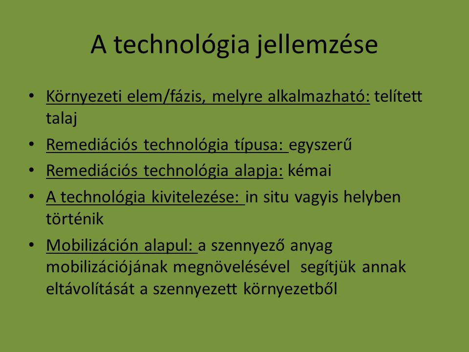A technológia jellemzése Környezeti elem/fázis, melyre alkalmazható: telített talaj Remediációs technológia típusa: egyszerű Remediációs technológia a