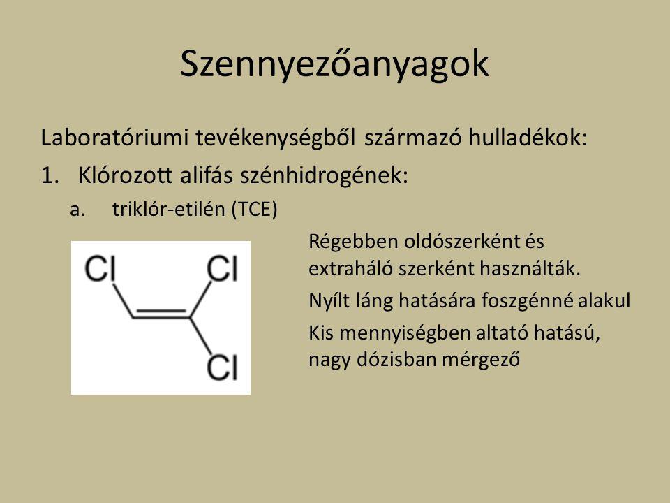 Szennyezőanyagok Laboratóriumi tevékenységből származó hulladékok: 1.Klórozott alifás szénhidrogének: a. triklór-etilén (TCE) Régebben oldószerként és