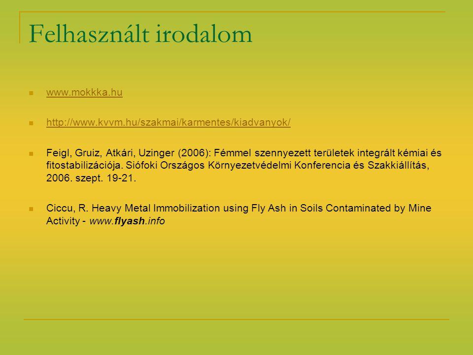 Felhasznált irodalom www.mokkka.hu http://www.kvvm.hu/szakmai/karmentes/kiadvanyok/ Feigl, Gruiz, Atkári, Uzinger (2006): Fémmel szennyezett területek