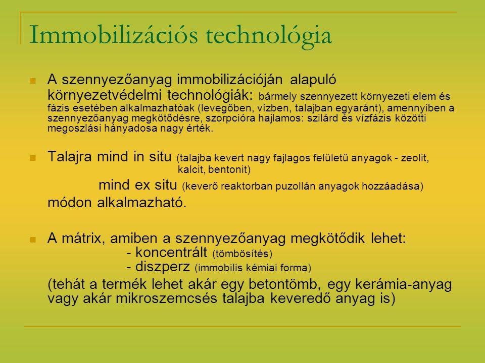 Immobilizációs technológia A szennyezőanyag immobilizációján alapuló környezetvédelmi technológiák: bármely szennyezett környezeti elem és fázis eseté