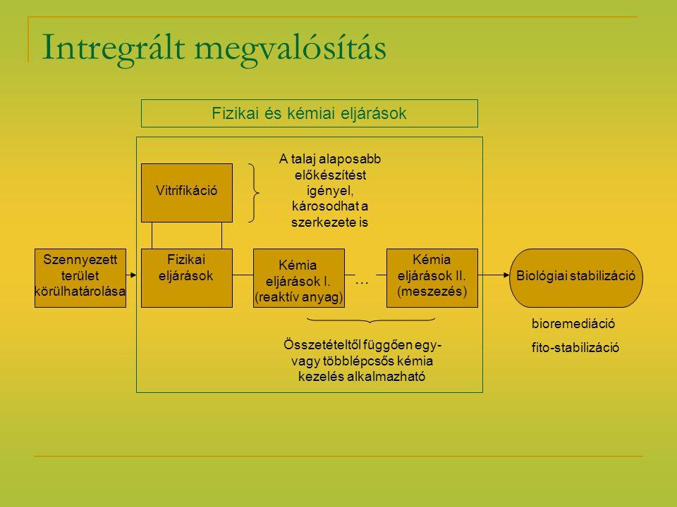 Intregrált megvalósítás Szennyezett terület körülhatárolása Vitrifikáció Fizikai eljárások Kémia eljárások I. (reaktív anyag) Kémia eljárások II. (mes