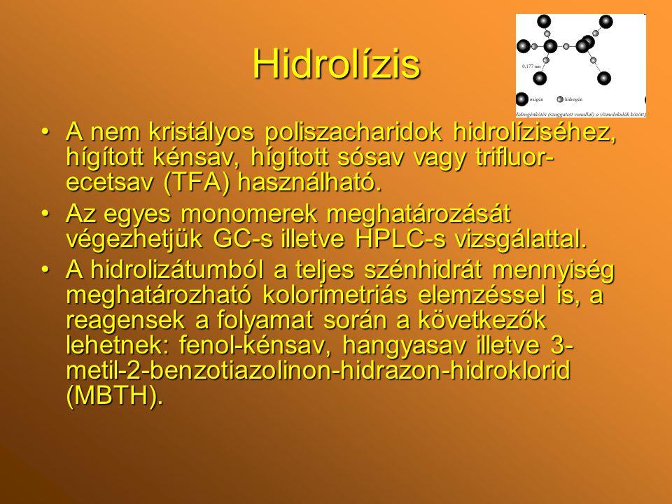 Hidrolízis A nem kristályos poliszacharidok hidrolíziséhez, hígított kénsav, hígított sósav vagy trifluor- ecetsav (TFA) használható.A nem kristályos poliszacharidok hidrolíziséhez, hígított kénsav, hígított sósav vagy trifluor- ecetsav (TFA) használható.
