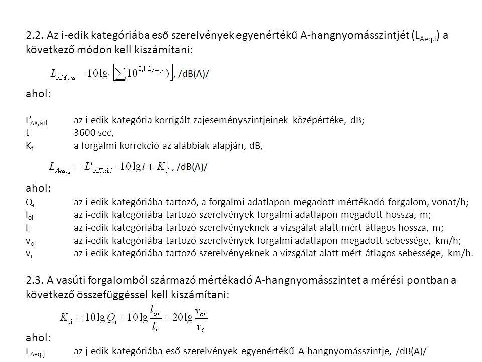 2.2. Az i-edik kategóriába eső szerelvények egyenértékű A-hangnyomásszintjét (L Aeq,i ) a következő módon kell kiszámítani: ahol: L' AX,átl az i-edik