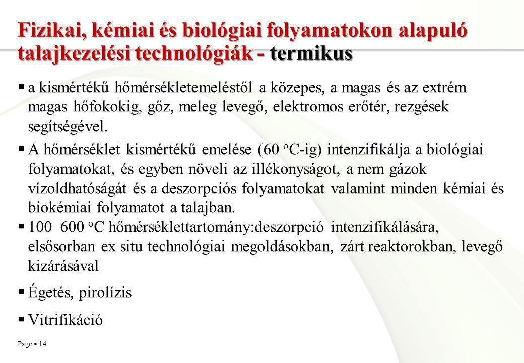 Page  14 Fizikai, kémiai és biológiai folyamatokon alapuló talajkezelési technológiák - termikus  a kismértékű hőmérsékletemeléstől a közepes, a mag