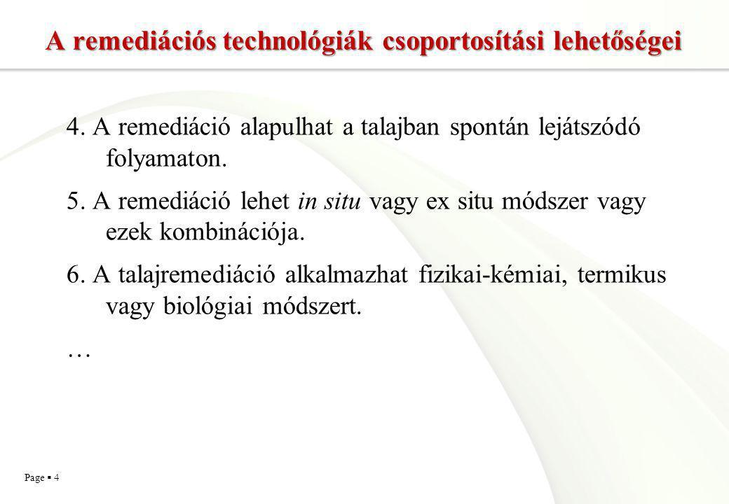 Page  15 Fizikai, kémiai és biológiai folyamatokon alapuló talajkezelési technológiák - biológiai  Alapja természetes folyamat: biodegradáció  Fokozatok beavatkozástól függően  A mikroflóra működésének optimálása, aktivitásának növelése  Enyhe beavatkozás: nedvesítés, levegőztetés,tápanyag adagolás, pH állítás  Erőteljesebb beavatkozás: adalékanyagok alkalmazása, mikrobiális oltóanyagok, hőmérséklet emelése  Helyszínspecifikusság  In situ, ex situ  Talajgáz, talajvíz, teljes talaj BIOREMEDIÁCIÓ
