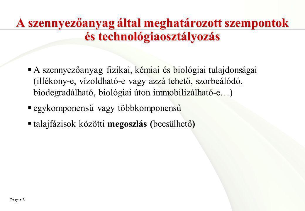 Page  9 Technológiák csoportosítása a szennyezőanyag mobilizálása/immobilizálása alapján A szennyezőanyagon végbemenő változások szerinti csoportosítás  A szennyezőanyag mobilisabbá, mozgékonyabbá (illékonyabbá, vízoldhatóbbá, biológiailag felvehetőbbé, deszorbeálódóbbá) tétele, vagy  teljes immobilizálása  Funkcionális csoportosítás