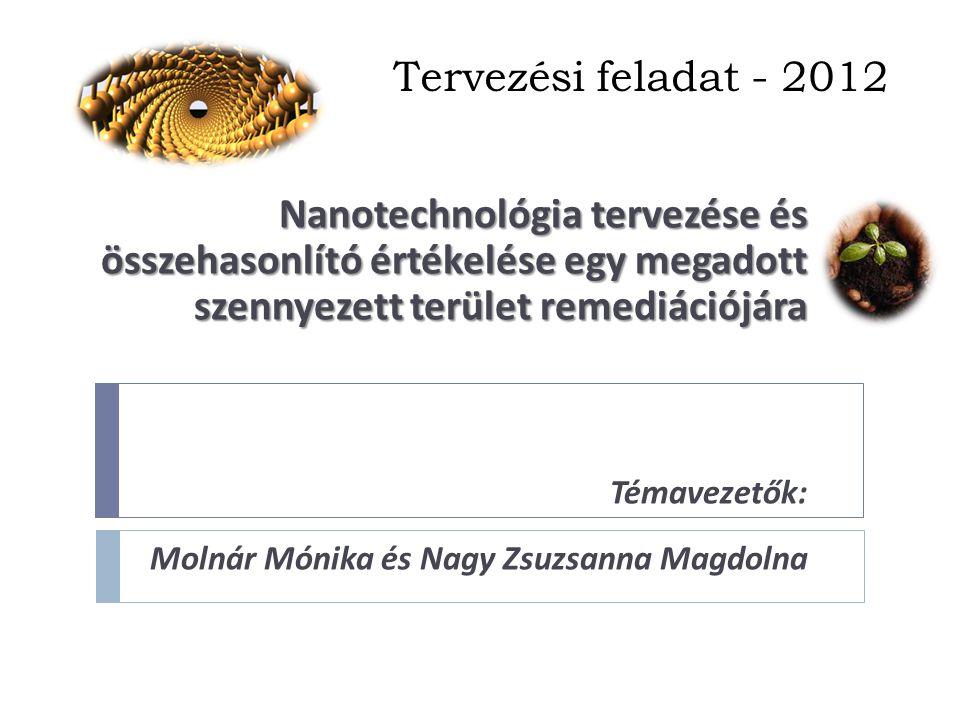 Tervezési feladat - 2012 Nanotechnológia tervezése és összehasonlító értékelése egy megadott szennyezett terület remediációjára Témavezetők: Molnár Mónika és Nagy Zsuzsanna Magdolna