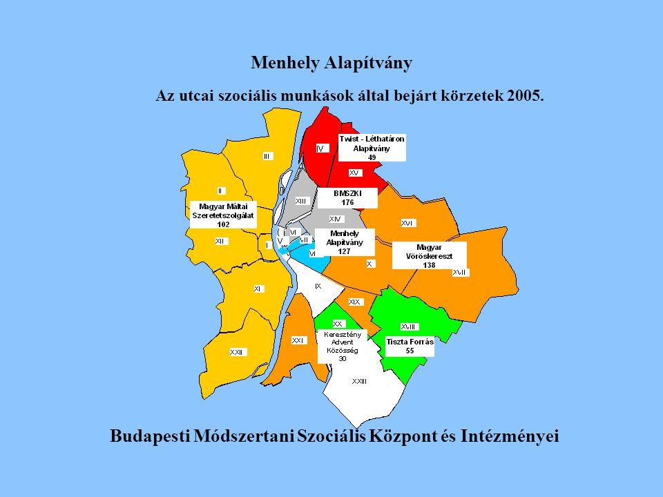 Menhely Alapítvány Budapesti Módszertani Szociális Központ és Intézményei Az utcai szociális munkások által bejárt körzetek 2005.
