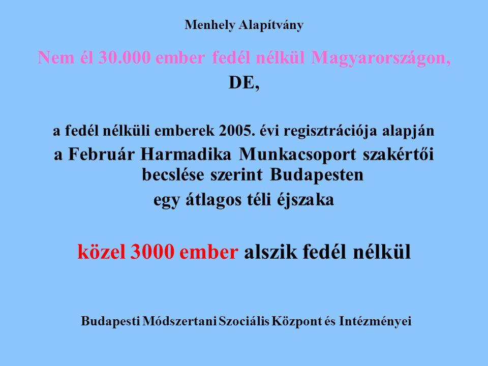 Menhely Alapítvány Nem él 30.000 ember fedél nélkül Magyarországon, DE, a fedél nélküli emberek 2005. évi regisztrációja alapján a Február Harmadika M