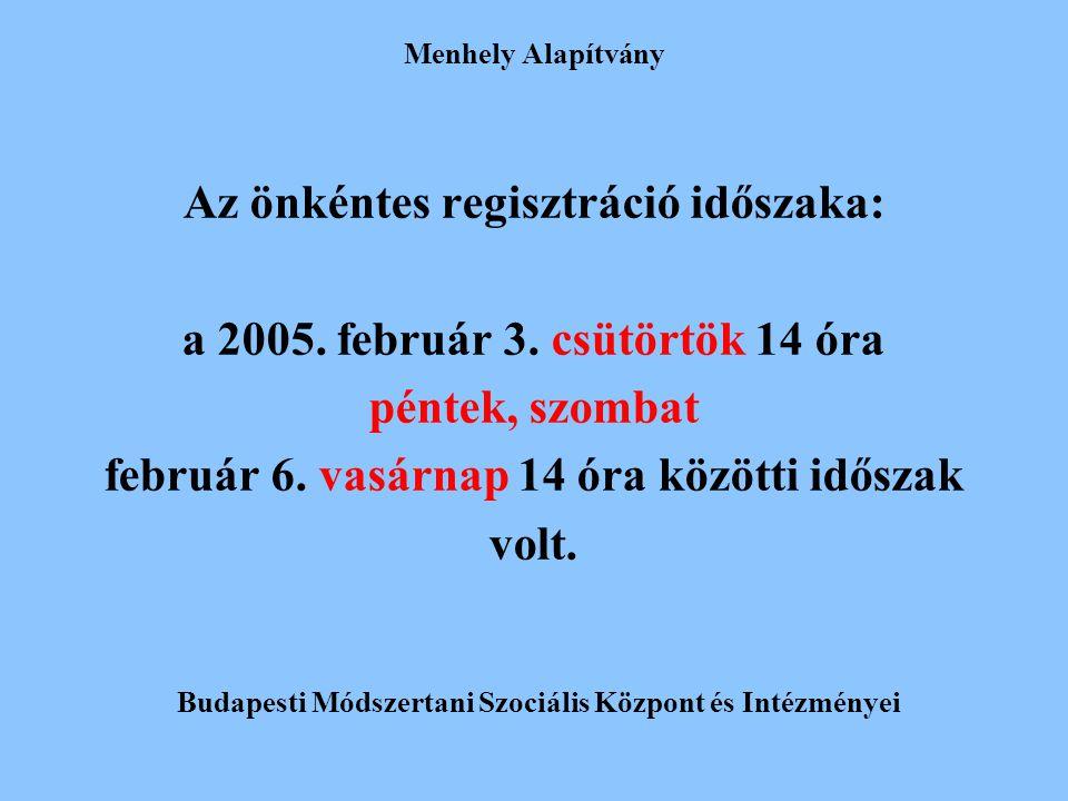 Menhely Alapítvány Az önkéntes regisztráció időszaka: a 2005. február 3. csütörtök 14 óra péntek, szombat február 6. vasárnap 14 óra közötti időszak v