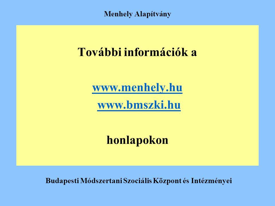 Menhely Alapítvány További információk a www.menhely.hu www.bmszki.hu honlapokon Budapesti Módszertani Szociális Központ és Intézményei