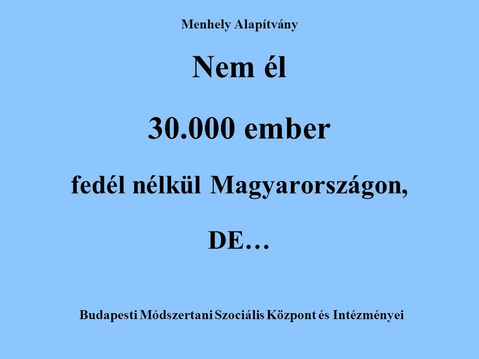 Menhely Alapítvány Nem él 30.000 ember fedél nélkül Magyarországon, DE… Budapesti Módszertani Szociális Központ és Intézményei