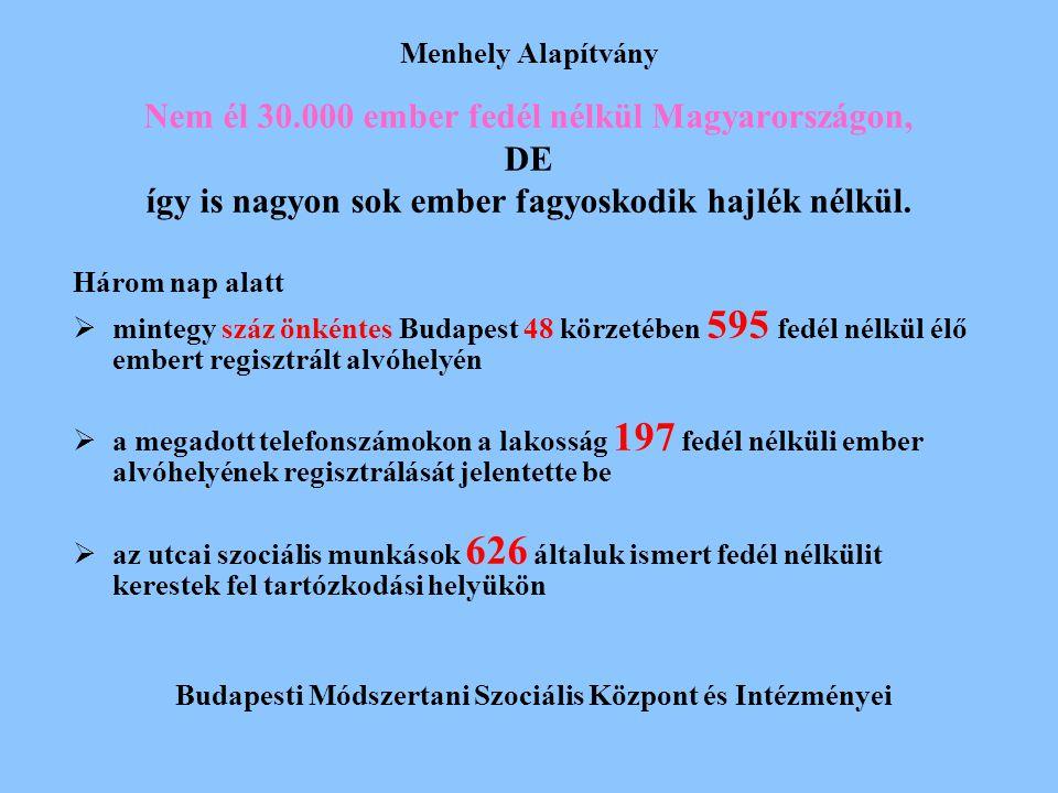 Menhely Alapítvány Nem él 30.000 ember fedél nélkül Magyarországon, DE így is nagyon sok ember fagyoskodik hajlék nélkül. Három nap alatt  mintegy sz