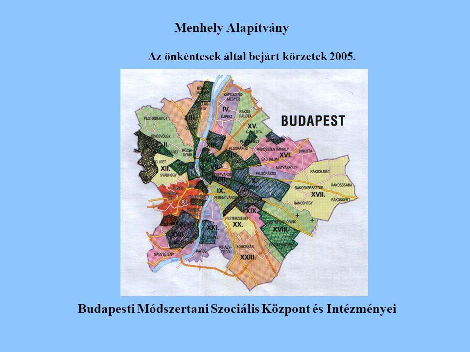 Menhely Alapítvány Budapesti Módszertani Szociális Központ és Intézményei Az önkéntesek által bejárt körzetek 2005.