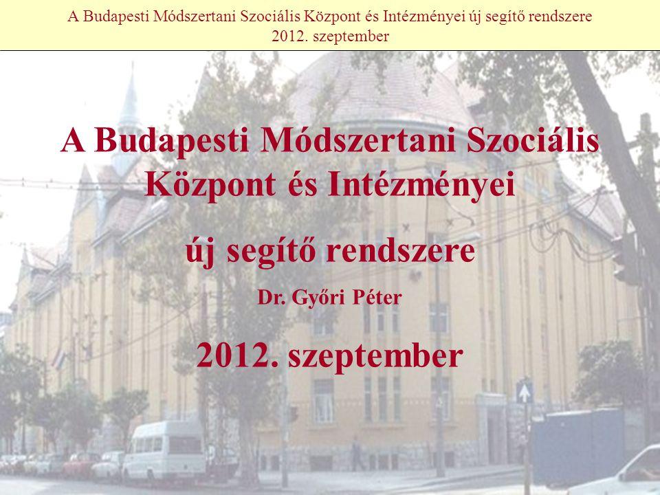 A Budapesti Módszertani Szociális Központ és Intézményei új segítő rendszere 2012.