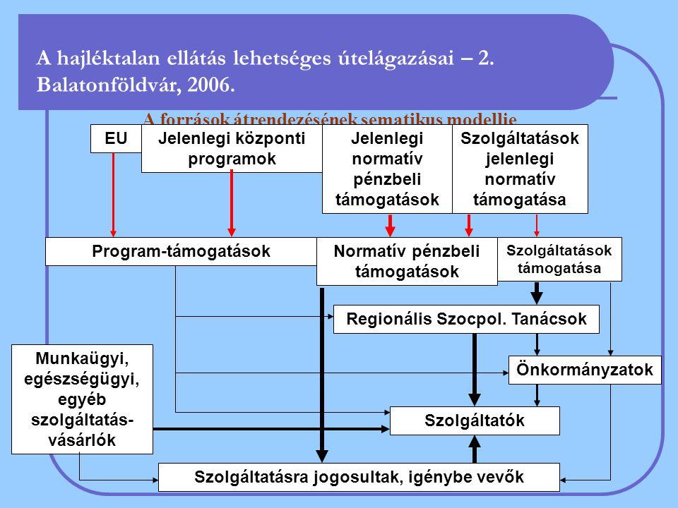 A források átrendezésének sematikus modellje Jelenlegi normatív pénzbeli támogatások Szolgáltatásra jogosultak, igénybe vevők Program-támogatások Munkaügyi, egészségügyi, egyéb szolgáltatás- vásárlók Szolgáltatások jelenlegi normatív támogatása Regionális Szocpol.