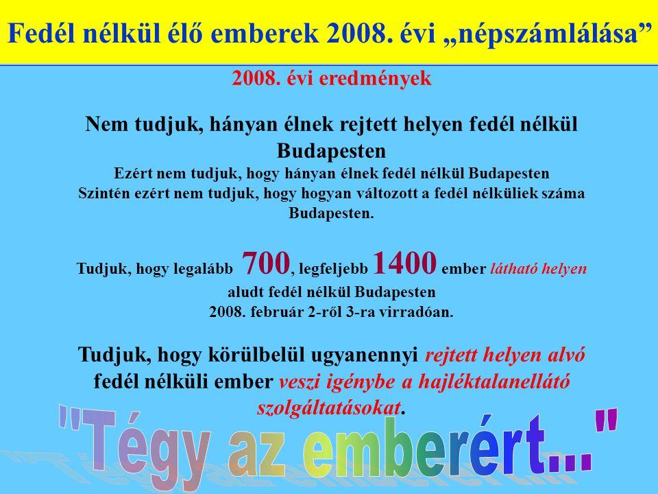 """Fedél nélkül élő emberek 2008. évi """"népszámlálása 2008."""