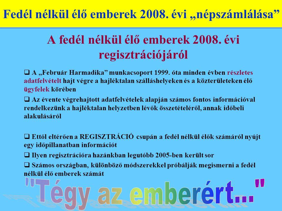 """A fedél nélkül élő emberek 2008.évi regisztrációjáról  A """"Február Harmadika munkacsoport 1999."""