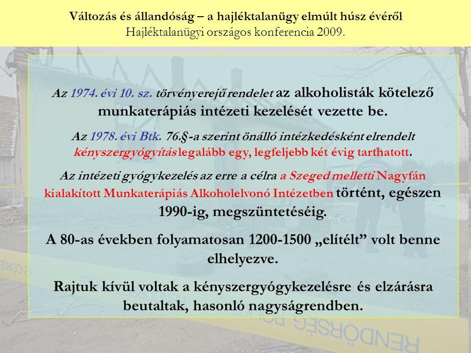 Változás és állandóság – a hajléktalanügy elmúlt húsz évéről Hajléktalanügyi országos konferencia 2009. Győri Péter: Az 1974. évi 10. sz. törvényerejű