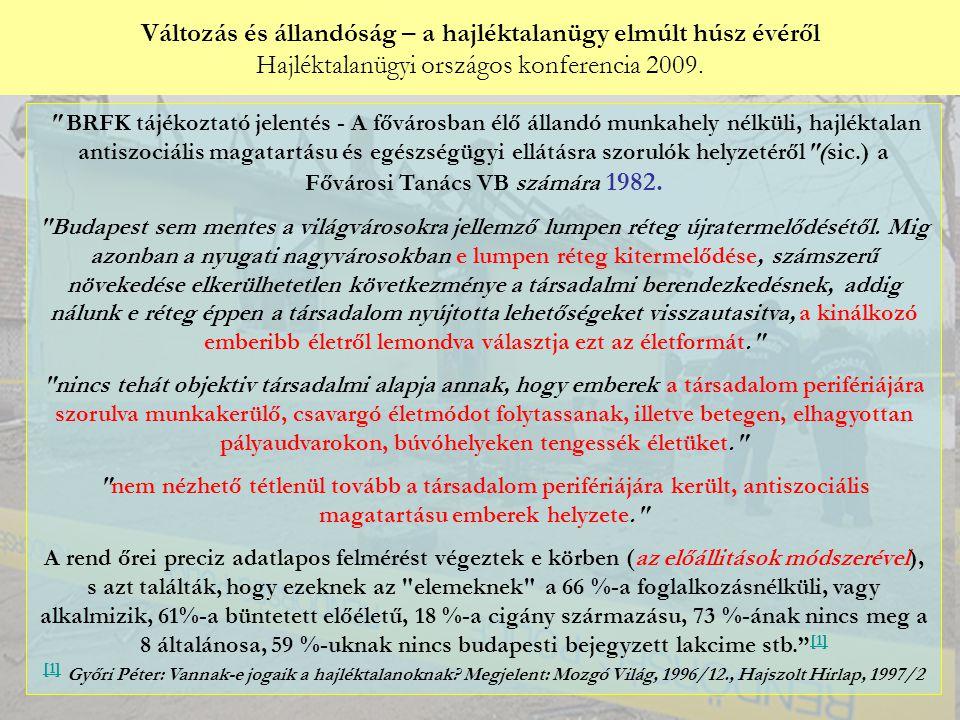 Változás és állandóság – a hajléktalanügy elmúlt húsz évéről Hajléktalanügyi országos konferencia 2009. Győri Péter: