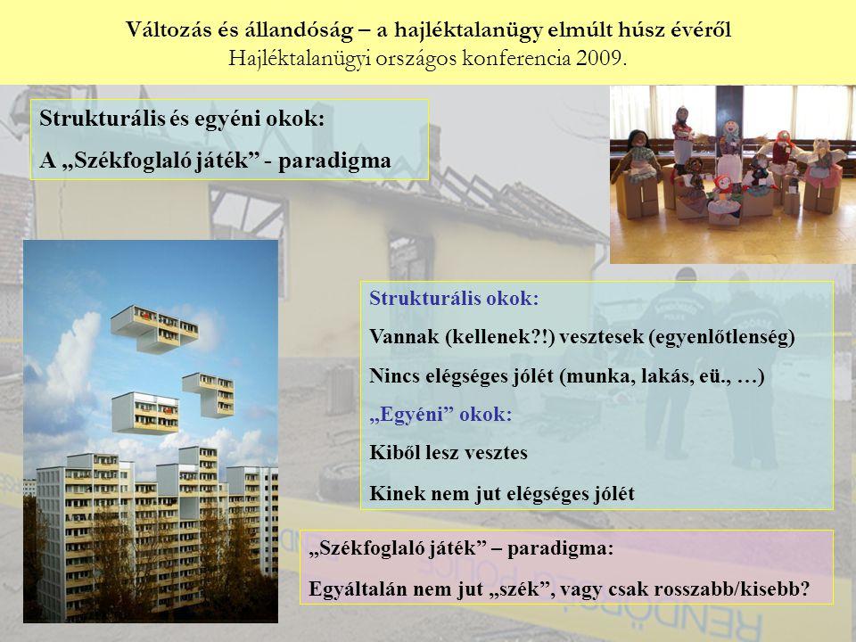 """Győri Péter: Strukturális és egyéni okok: A """"Székfoglaló játék - paradigma Strukturális okok: Vannak (kellenek !) vesztesek (egyenlőtlenség) Nincs elégséges jólét (munka, lakás, eü., …) """"Egyéni okok: Kiből lesz vesztes Kinek nem jut elégséges jólét """"Székfoglaló játék – paradigma: Egyáltalán nem jut """"szék , vagy csak rosszabb/kisebb"""