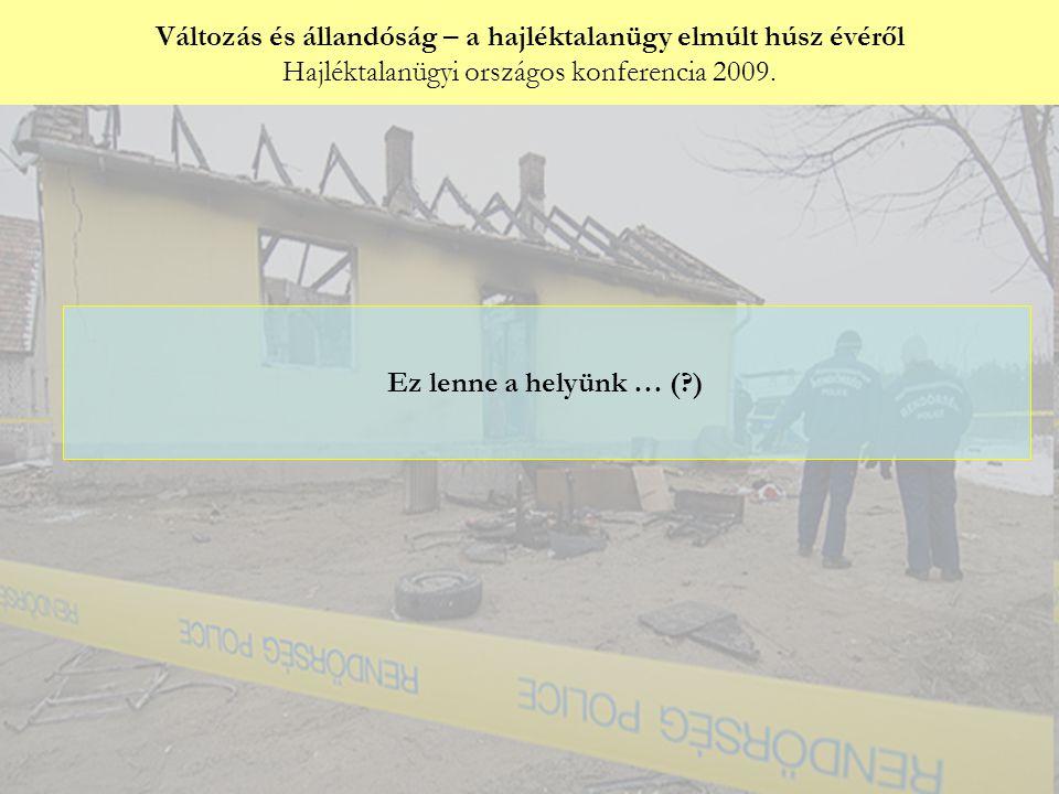 Változás és állandóság – a hajléktalanügy elmúlt húsz évéről Hajléktalanügyi országos konferencia 2009. Győri Péter: Ez lenne a helyünk … (?)