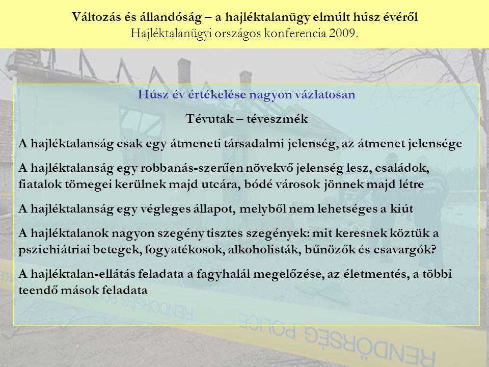 Változás és állandóság – a hajléktalanügy elmúlt húsz évéről Hajléktalanügyi országos konferencia 2009. Győri Péter: Húsz év értékelése nagyon vázlato