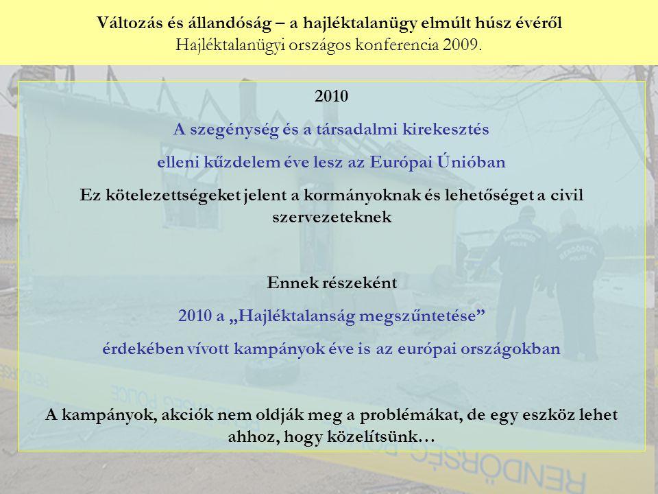 Változás és állandóság – a hajléktalanügy elmúlt húsz évéről Hajléktalanügyi országos konferencia 2009.