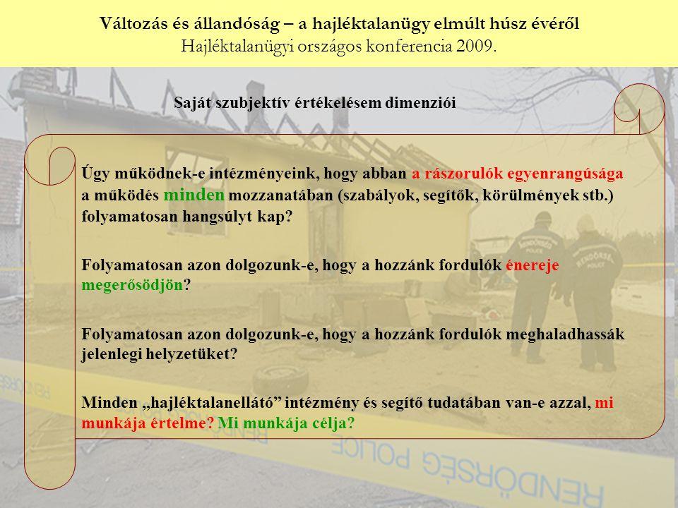 Változás és állandóság – a hajléktalanügy elmúlt húsz évéről Hajléktalanügyi országos konferencia 2009. Győri Péter: Úgy működnek-e intézményeink, hog
