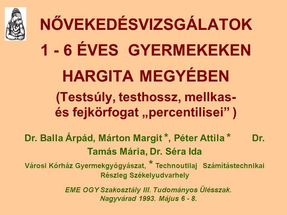 """NŐVEKEDÉSVIZSGÁLATOK 1 - 6 ÉVES GYERMEKEKEN HARGITA MEGYÉBEN (Testsúly, testhossz, mellkas- és fejkörfogat """"percentilisei"""" ) Dr. Balla Árpád, Márton M"""