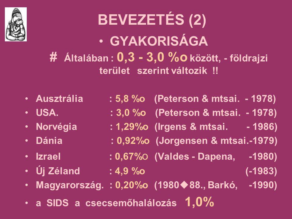 BEVEZETÉS (2) GYAKORISÁGA # Általában : 0,3 - 3,0 %o között, - földrajzi terület szerint változik !.
