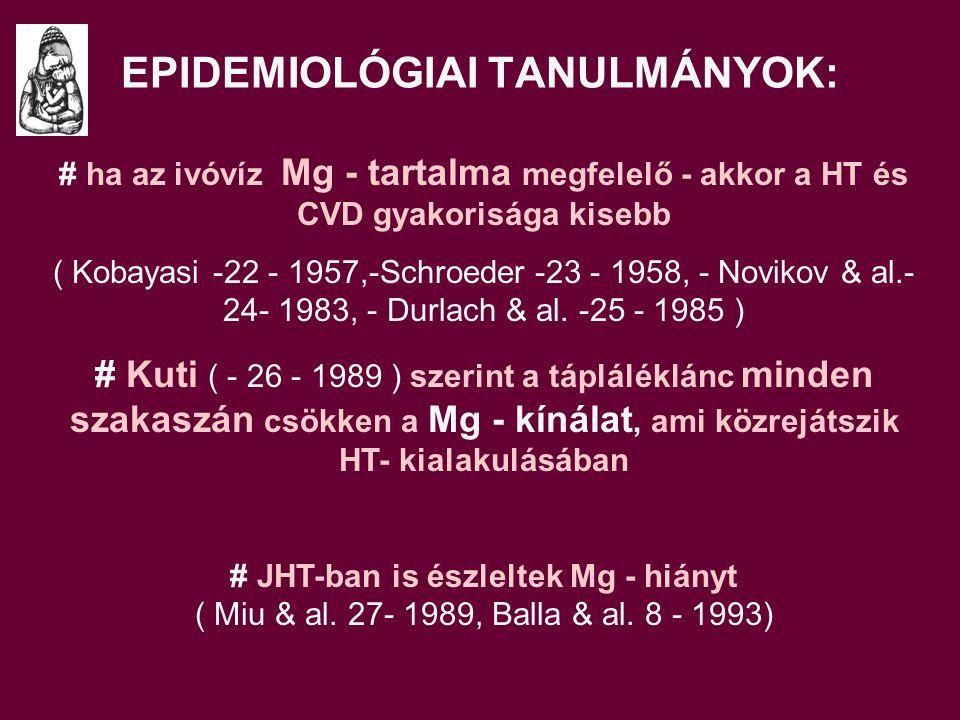 EPIDEMIOLÓGIAI TANULMÁNYOK: # ha az ivóvíz Mg - tartalma megfelelő - akkor a HT és CVD gyakorisága kisebb ( Kobayasi -22 - 1957,-Schroeder -23 - 1958, - Novikov & al.- 24- 1983, - Durlach & al.