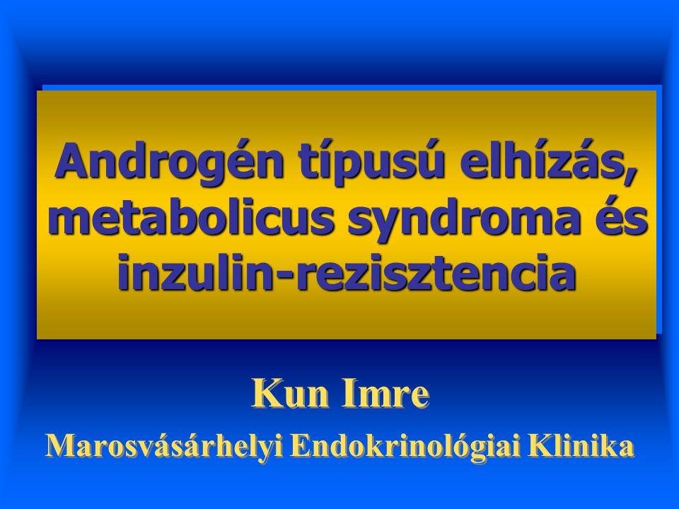  Gluconeogenesis (PEPCK és G6Pase) Zsíranyagcsere:   lipogenesis, zsírmáj   HDL-chol   Tg  AGT  Hypertensio METABOLICUS SYNDROMA Dyslipidaemia Hypertensio Hyperglykaemia Hepaticus insulin- resistentia Glucose-dependens insulinválasz Gátolja az insulin-secretiót PANCREAS  GLUT4-translocatio  Lipid-oxydatio Perifériás insulin- rezistentia VÁZIZOM A glucocorticoidok anyagcsere hatásai és a metabolicus syndroma közti kapcsolatok I.