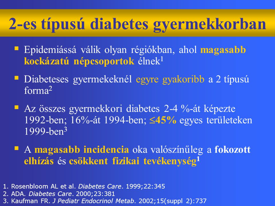 1. Rosenbloom AL et al. Diabetes Care. 1999;22:345 2. ADA. Diabetes Care. 2000;23:381 3. Kaufman FR. J Pediatr Endocrinol Metab. 2002;15(suppl 2):737