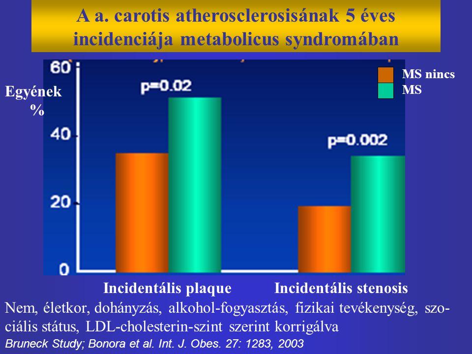 A a. carotis atherosclerosisának 5 éves incidenciája metabolicus syndromában MS nincs MS Bruneck Study; Bonora et al. Int. J. Obes. 27: 1283, 2003 Inc