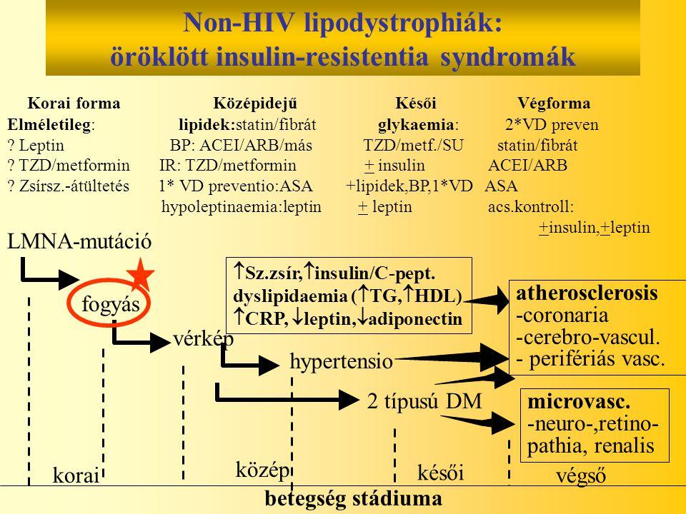 Non-HIV lipodystrophiák: öröklött insulin-resistentia syndromák Korai forma Középidejű Késői Végforma Elméletileg: lipidek:statin/fibrát glykaemia: 2*