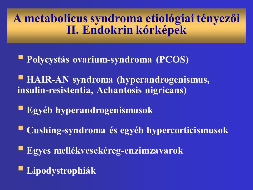A metabolicus syndroma etiológiai tényezői II. Endokrin kórképek  Polycystás ovarium-syndroma (PCOS)  HAIR-AN syndroma (hyperandrogenismus, insulin-